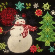 """Holly Jolly Panel Quilt Kit 48"""" x 48"""" Featuring fabrics from the Holly Jolly collection by Jennifer Brinley"""